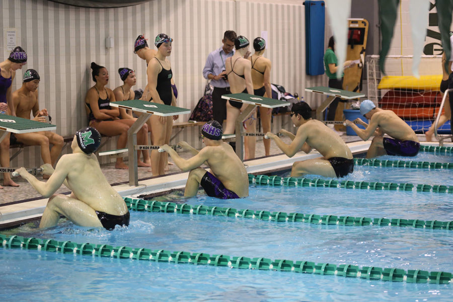 Swimmers from Methacton and Phoenixville get ready to start the 100 yard backstroke.