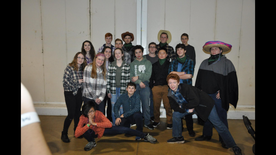 Members of marching bands percussion sections gathered for a photograph during the western themed dinner dance.