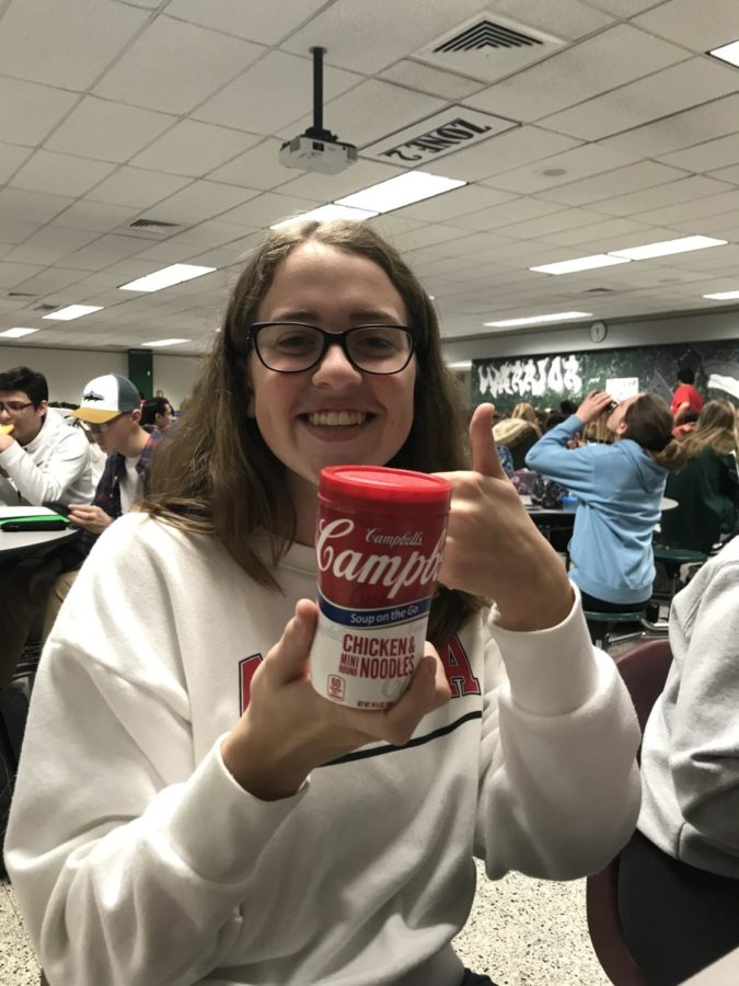 Sophomore Brooke Fanizzi shows her Campbell's Chicken Noodle Soup.