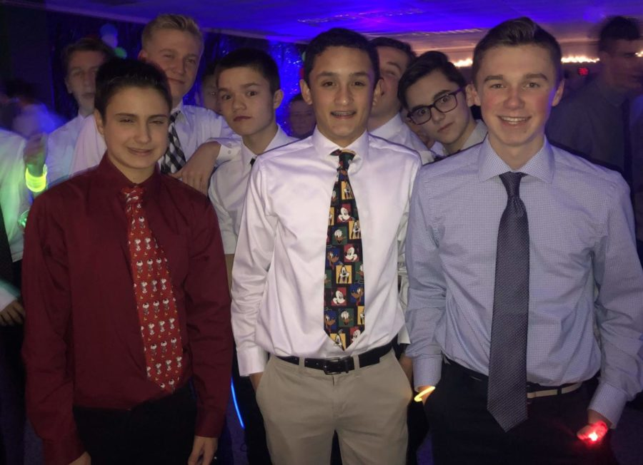 A group of freshman boys showed off their vibrant tie selections.