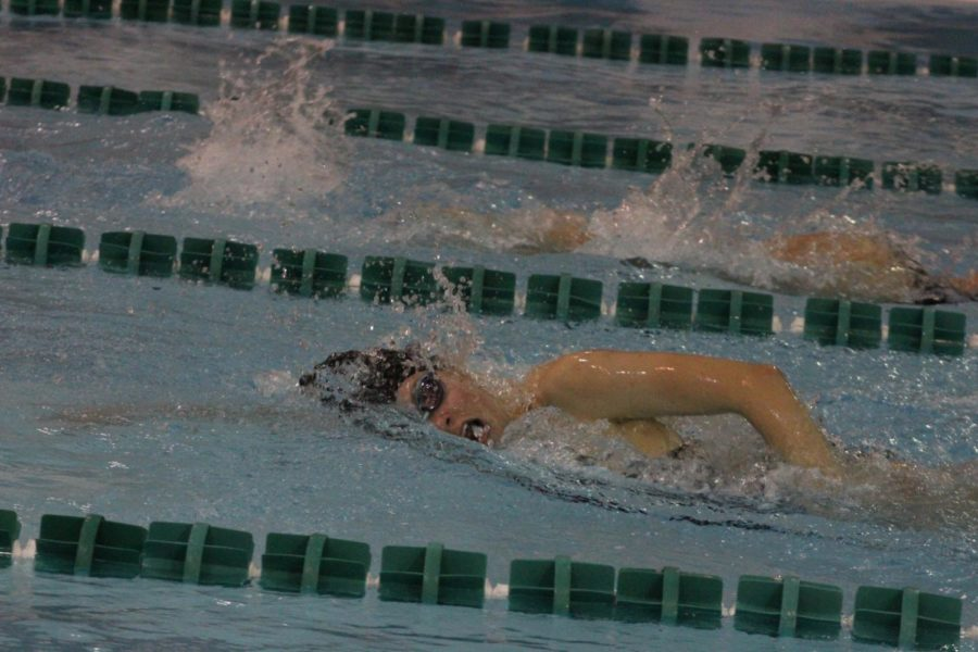 Freshman Amy Nguyen swam in the 400 freestyle relay.