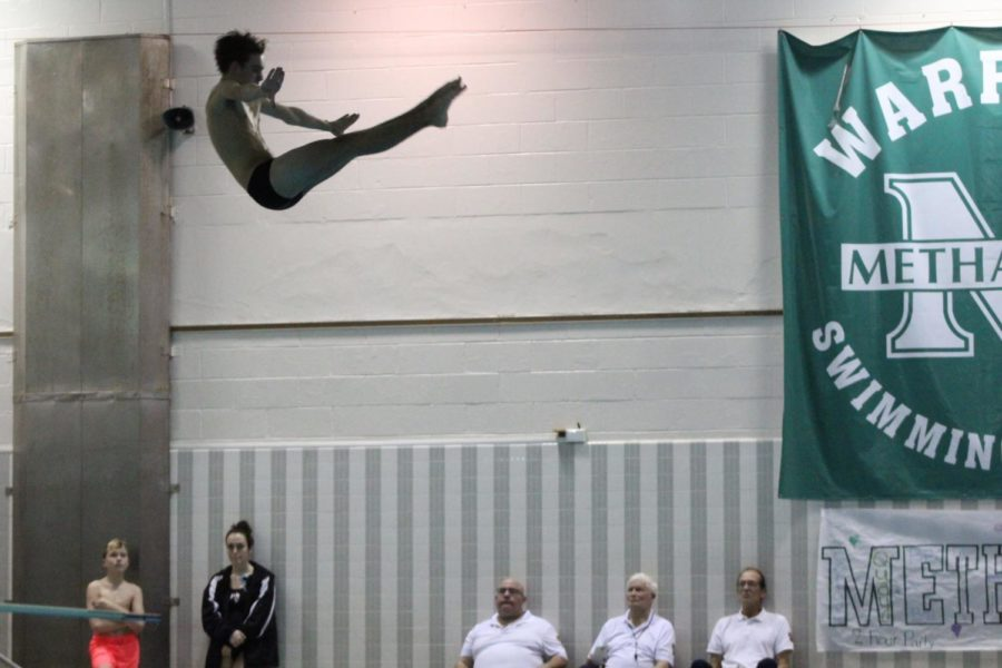 Sophomore Travis Henrick executed a one-and-a-half dive.