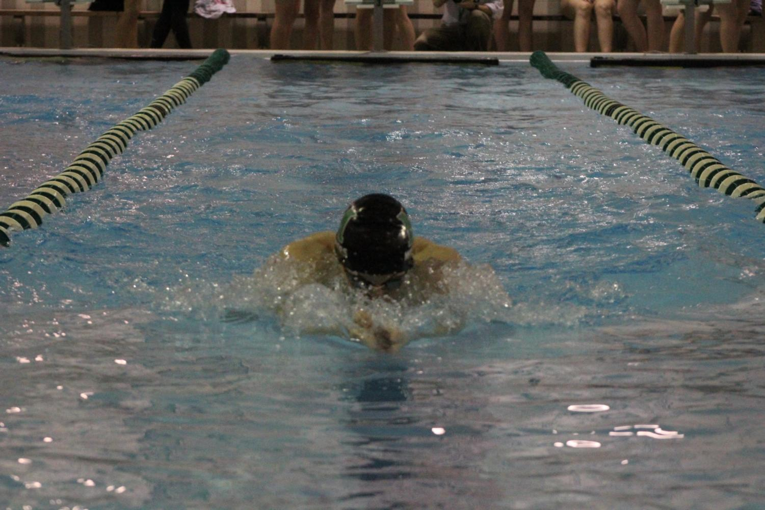 Noah+Caplan+took+first+place+in+the+100+breast+stroke.+%0A