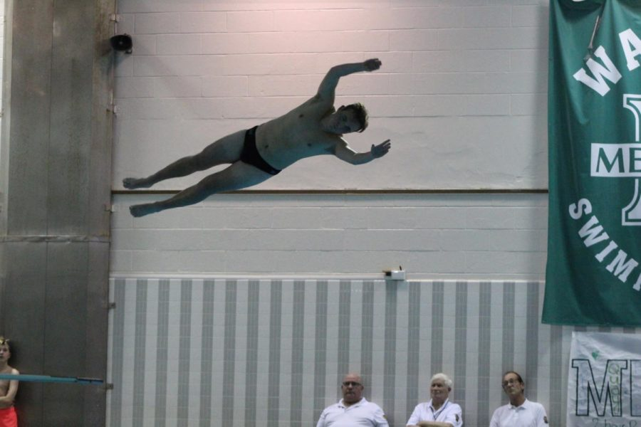 Senior Max Markowitz performed a back dive half twist in the opening portion of the boys diving event.
