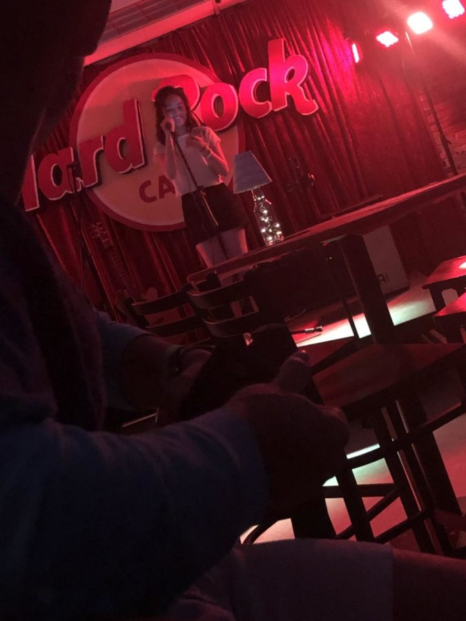 Caitlin Elysia Alano sang a couple of songs in the Hard Rock Cafe themed coffeehouse.