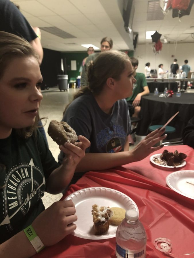 Bridget Donnelly-Marchese and Deena Drager enjoy some of the food in the cafeteria.