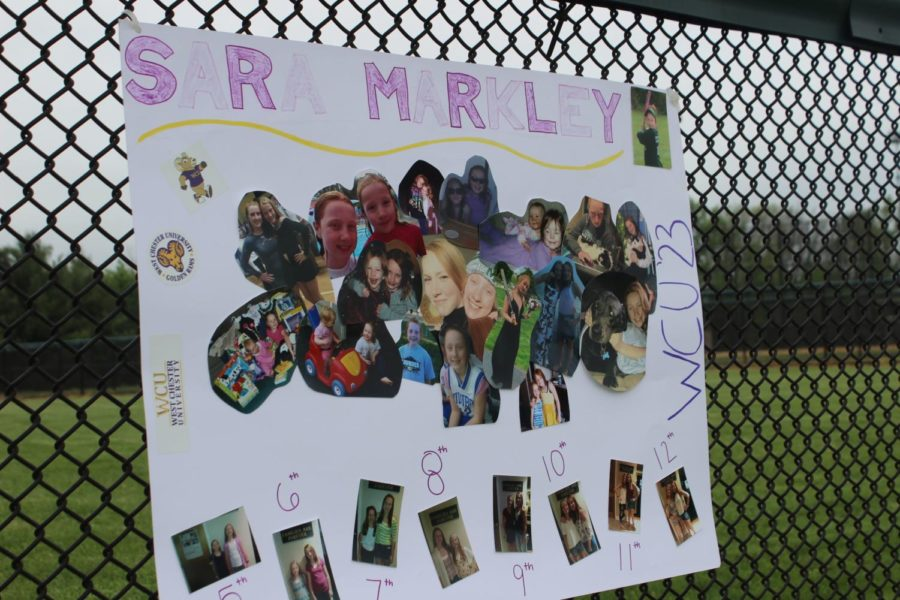 A poster of Sara Markley displayed a collage of pictures to celebrate Sara and her sister Aly Markley's time together.