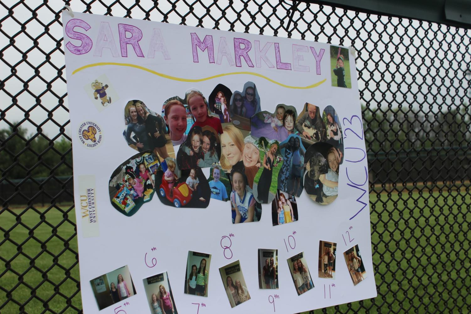 A+poster+of+Sara+Markley+displayed+a+collage+of+pictures+to+celebrate+Sara+and+her+sister+Aly+Markley%27s+time+together.%0A