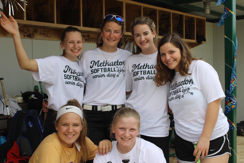 (from left top) Sophomore Casey Biglin, freshmen Kayla Kaufman and Katie Hull, sophomore Mikayla Montalbano, senior Abby Penjuke and freshman Holly Spletzer pose for a photograph before the senior night game against Pottstown.