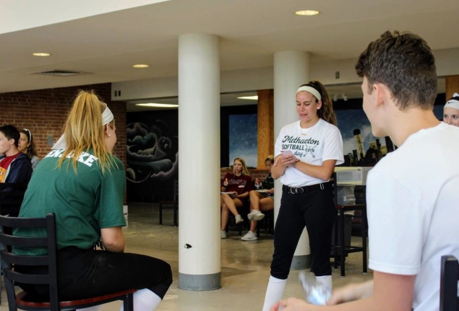Junior Caroline Pellicano gives a speech about Abby Penjuke, recalling their fun memories together while on the team.
