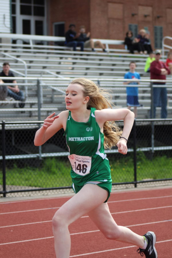 Sophomore Maria Coyle competed in the 100m dash.