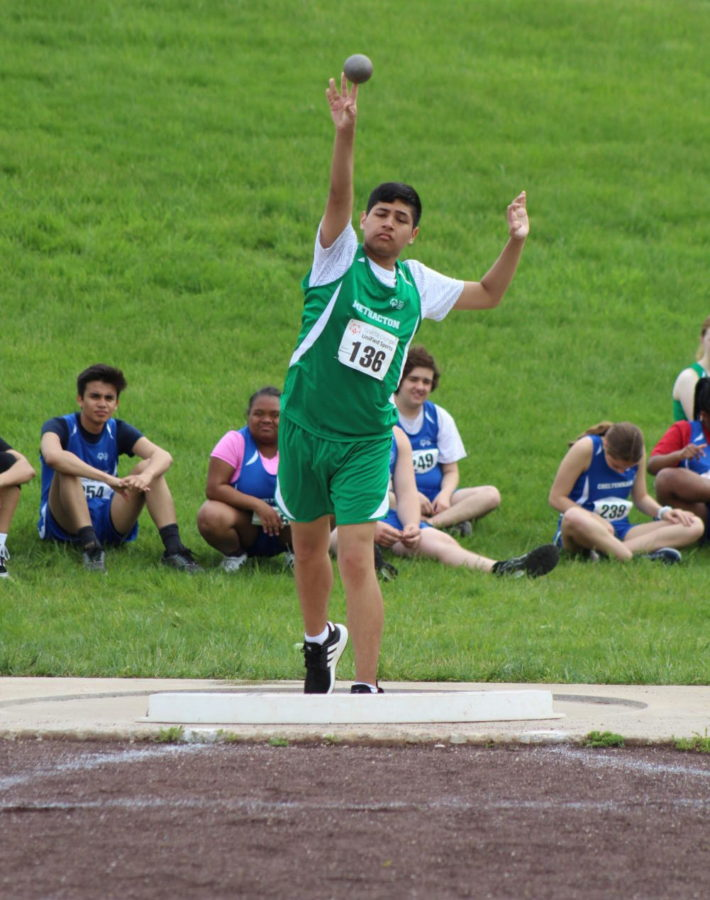 Sophomore Javier Altimirano throws the shot put.