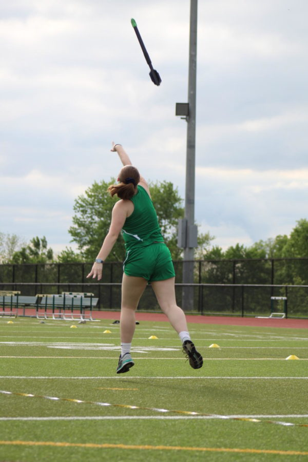 Junior Laura Thorne threw the mini- javelin.