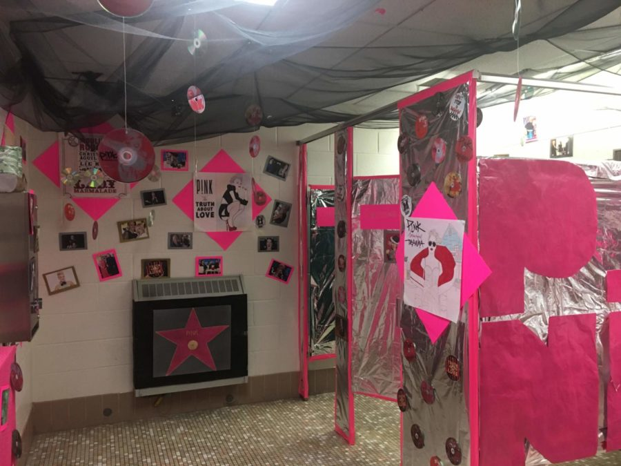 """One of the girls bathrooms was themed""""P!nk""""."""