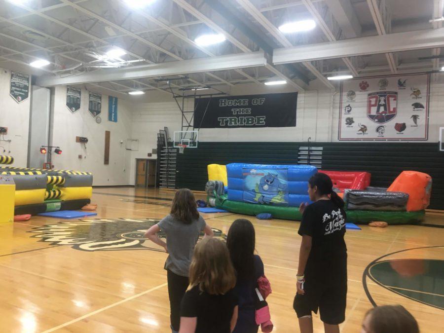 Arrowhead Elementary School students take a tour inside the main gym.