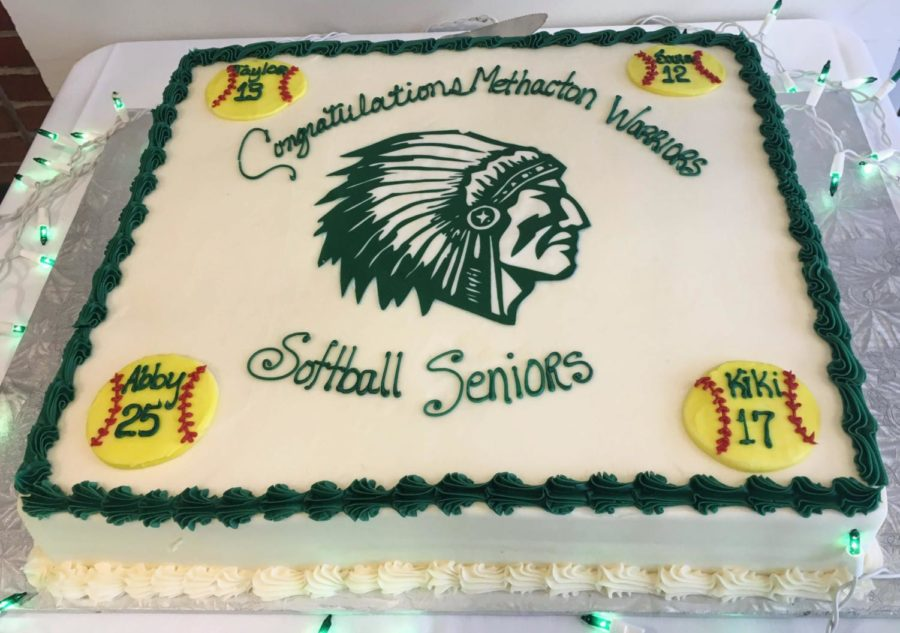 The senior featured the four seniors' names, one at each corner.