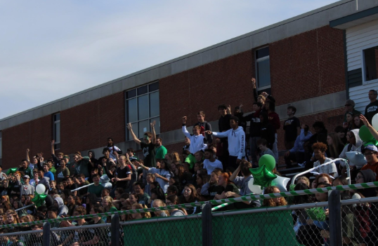 The sophomore student section cheered during the team announcements.