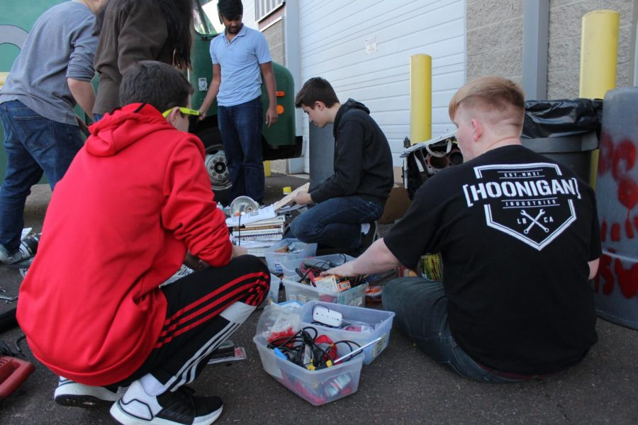 Club members spent time reorganizing the truck's equipment.