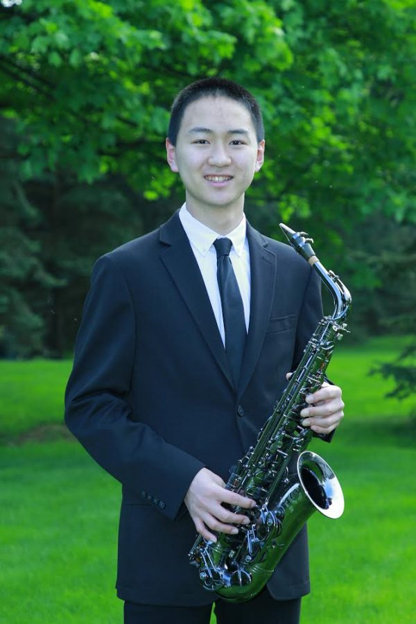 Junior Patrick Li, who earned a seat as an alto saxophone player with the All-Eastern Band on Jan. 21, will play online in April for the National Association for Music Education.