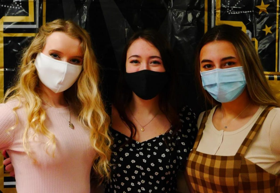 """MTC officers Maria Coyle, Cara Rydzewski and Julia Brady of the posed on the red carpet prior to the Jan. 14 showing of The Laramie Project. """"It was really important to be doing the show right now in light of everything to show how much progress we"""