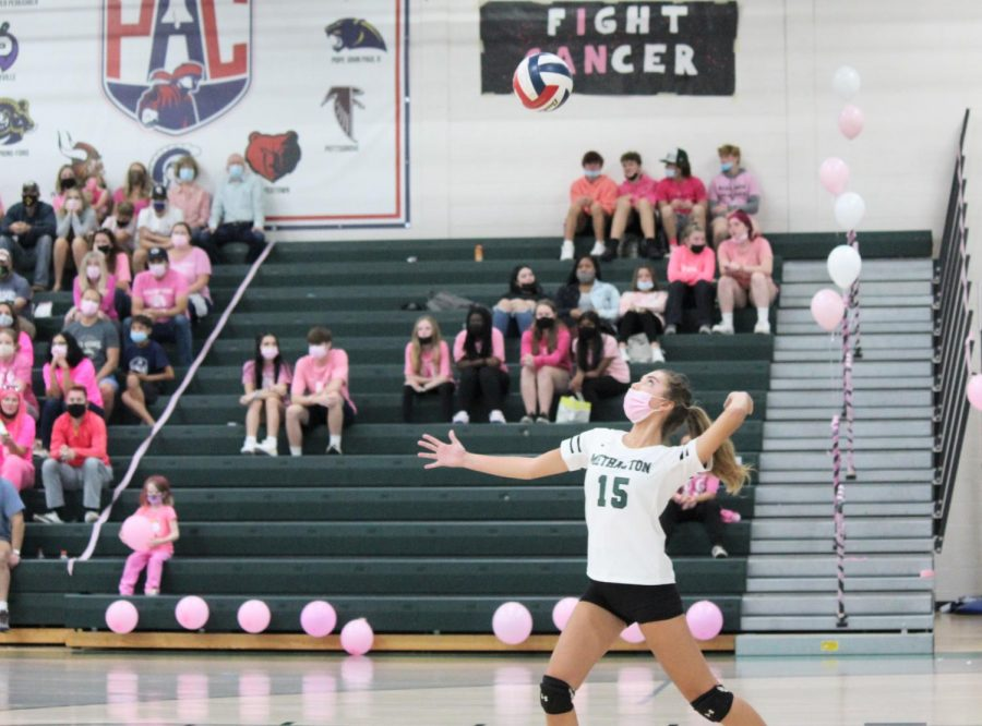 Ava Cingiser aces Boyertown at the Dig Pink game.