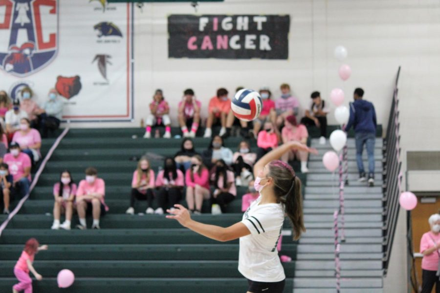 Rachel Pettine serves and plays setter for her team.